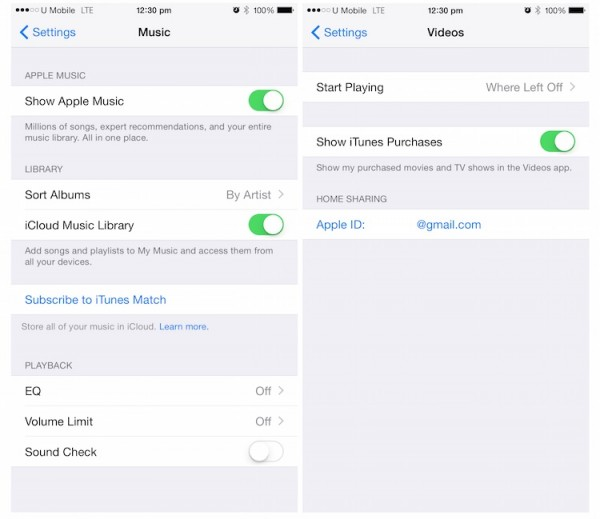Home Sharing Not Available for Music on iOS 8.4