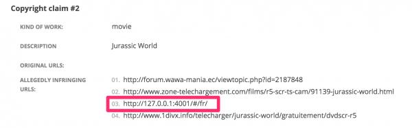 Localhost DMCA request
