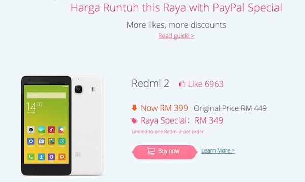Xiaomi Redmi 2 Hari Raya PayPal Special RM349