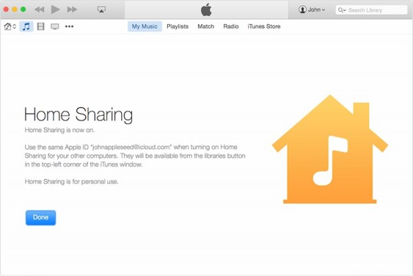 iTunes 12.2 Home SHaring