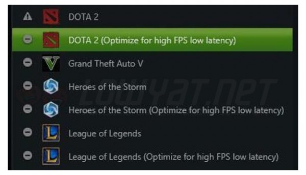 GeForce Experience MOBA Games Low Latency Settings for NVIDIA GeForce GTX 950