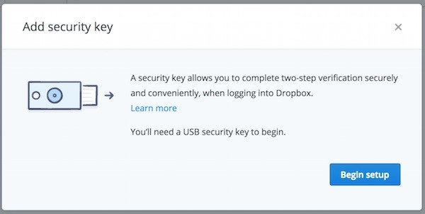 Dropbox Add Security Key