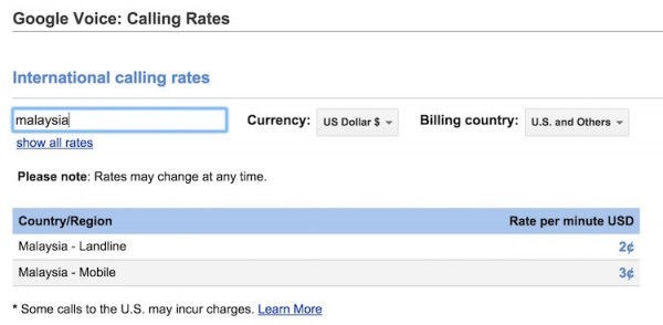 Google Voice Calling Rates for Malaysia