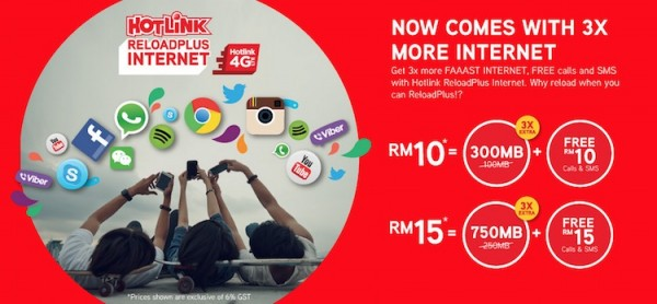 Hotlink ReloadPLus Promotion Three Times Data