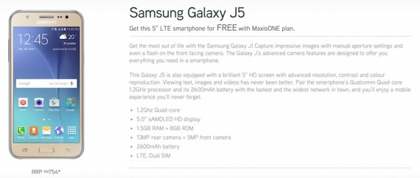 Maxis Samsung Galaxy j5 Bundle