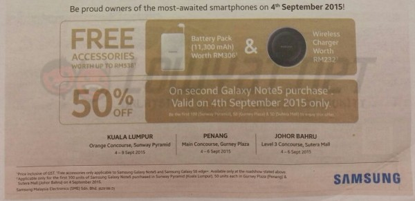 Samsung Galaxy Note 5 and S6 edge Plus Promotion Freebies and Discount