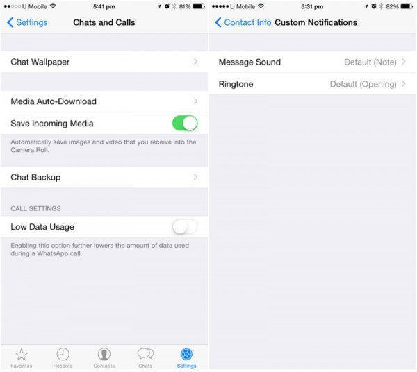 WhatsApp iOS Custom Notifications and Low Data Calls