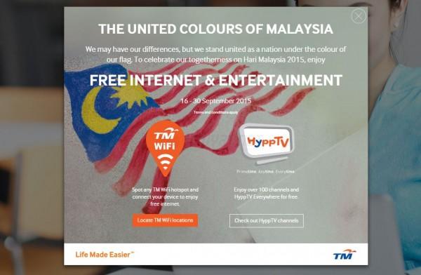 TM WiFi and HyppTV Free Access - Hari Malaysia 2015