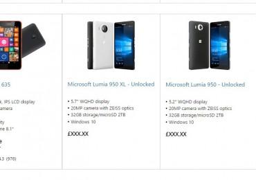 Microsoft Lumia 950 and 950 XL on Microsoft Store UK