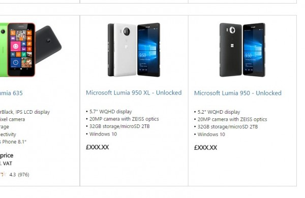 Microsoft Lumia 950 and 950 XL on Microsoft Store UK