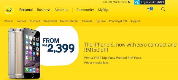 Digi Zero Contract iPhone 6 Prepaid Bundle