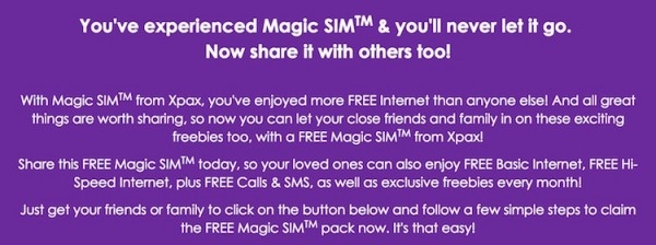 Free Xpax Magic SIM