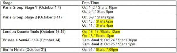 LoL World Championship 2015 Schedule updated