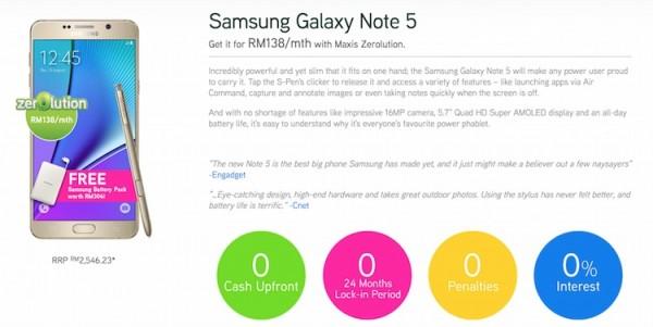 Maxis Samsung Galaxy Note 5 Zerolution