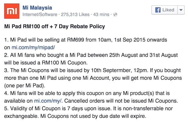 Xiaomi Malaysia Lowers Price of Mi Pad RM699