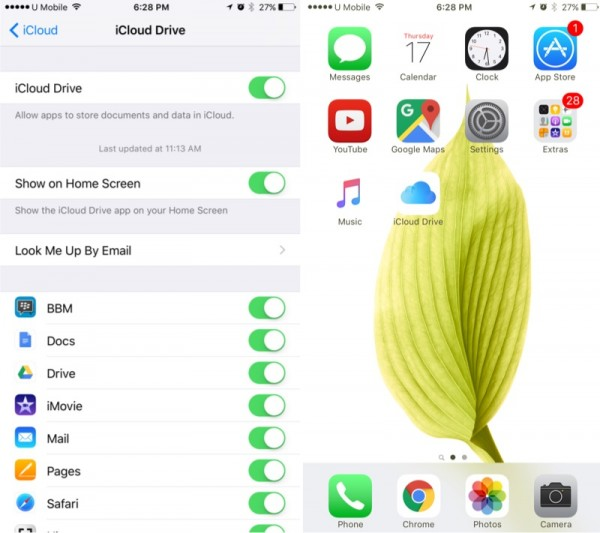 iOS 9 iCloud Drive on Home Screen