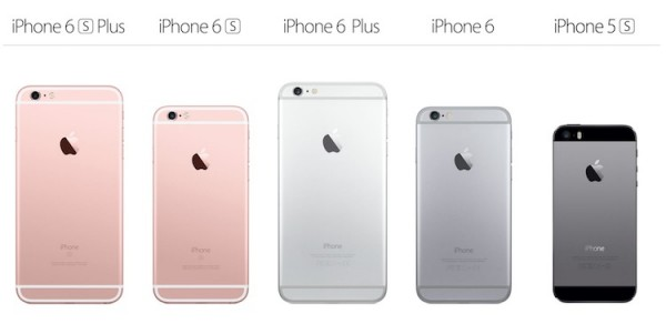 iPhone Lineup from iPhone 6s to iPhone 5s