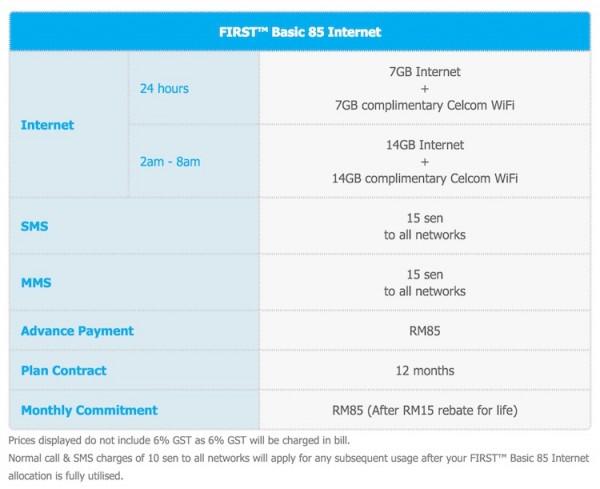 Celcom First Basic 85 Internet Plan