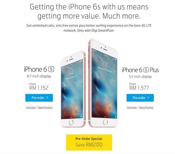 Digi iPhone 6s Preorder Special RM200 Rebate