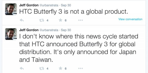 HTC Buttefly 3 is not a global product