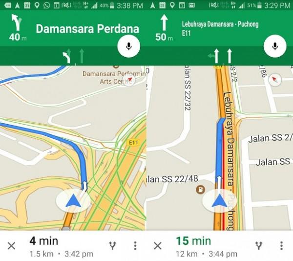 Lane Guidance For Google Maps
