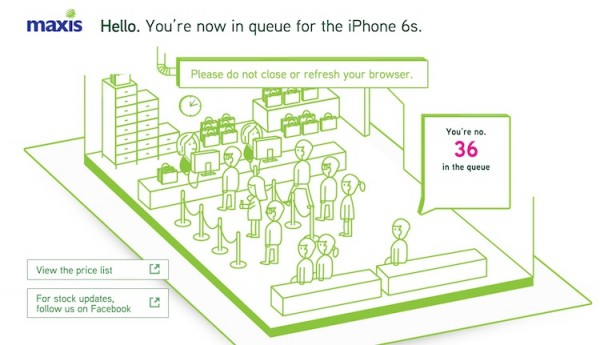 Maxis iPhone 6s Queue to Preorder