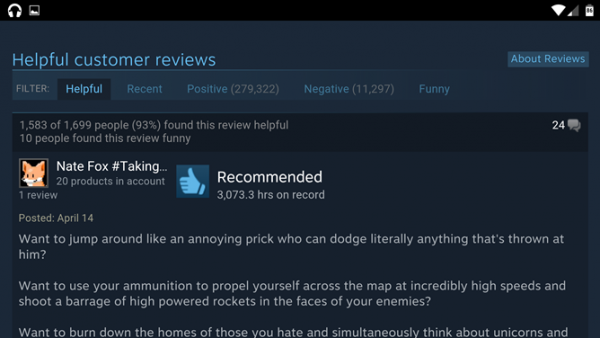 Steam Android Reviews