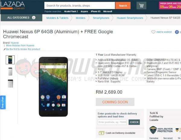 Huawei Nexus 6P at Lazada Malaysia