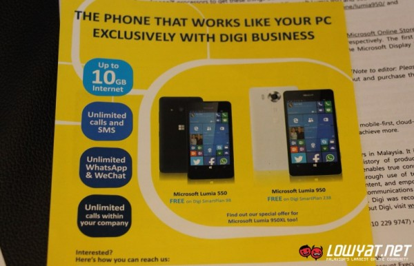 Microsoft Lumia 550 with DiGi SmartPlan for Business