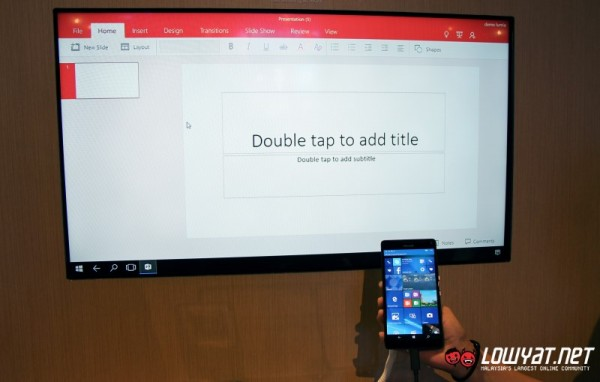 Microsoft PowerPoint through Continuum on Microsoft Lumia 950 XL