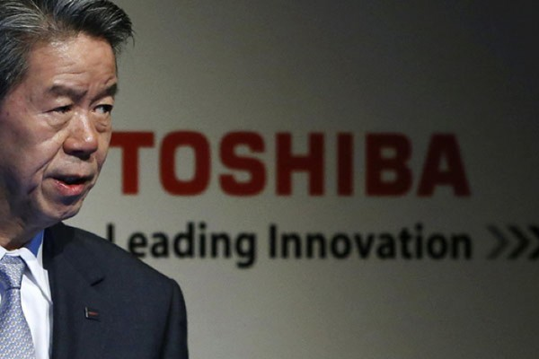 Toshiba Corp President and Chief Executive Hisao Tanaka speaks during the company's corporate strategy meeting in Tokyo August 7, 2013. Toshiba Corp said on Wednesday it has set a sales target for its nuclear power business of 630 billion yen ($6.45 billion) for the year to March 2016, citing steady progress with projects in China and the United States. REUTERS/Issei Kato (JAPAN - Tags: BUSINESS SCIENCE TECHNOLOGY)