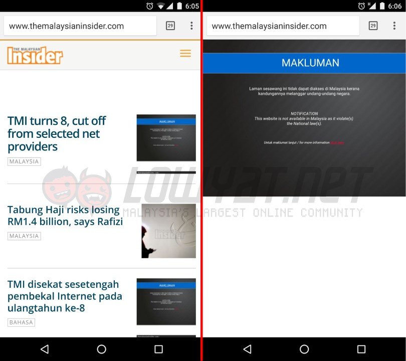 The Malaysian Insider Banned By MCMC