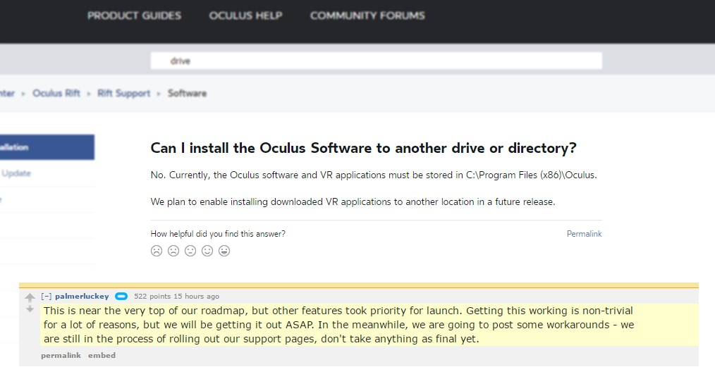 Oculus Software Directory Issue