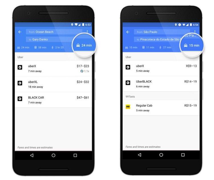 Google Maps with Taxi Related Services Integrated