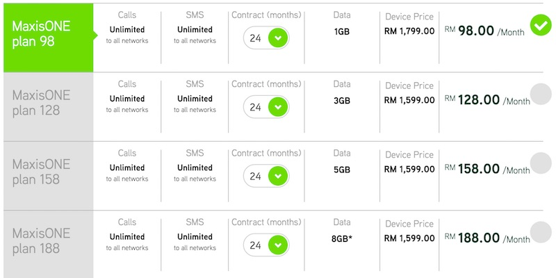 Maxis Huawei Mate 8 Contract Price