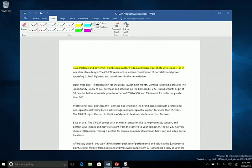 WIndows Ink MS Word