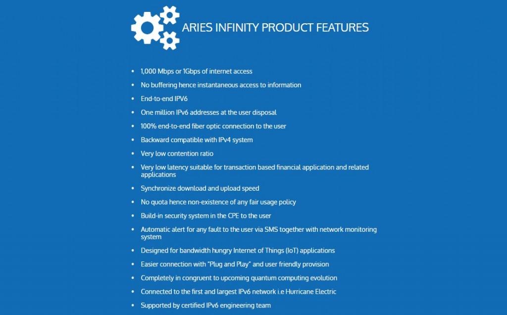 Aries Infinity 1Gbps Broadband