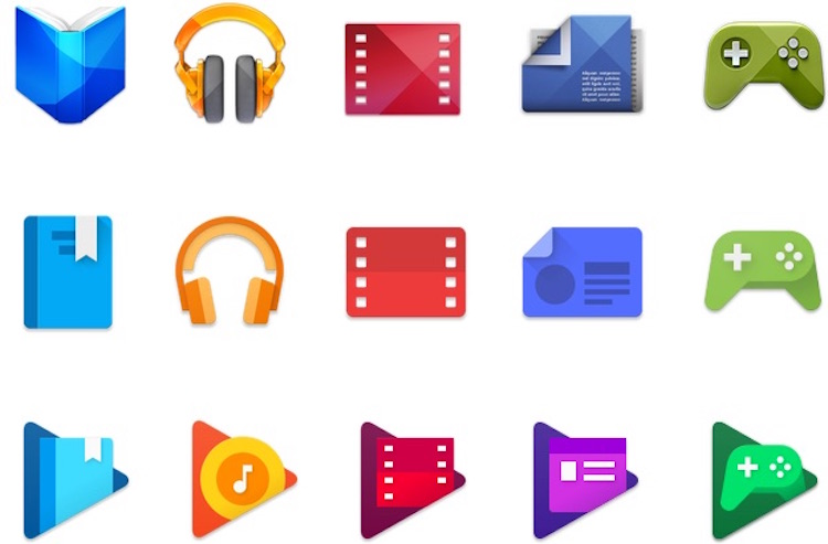 3 Generations of Google Play Icons