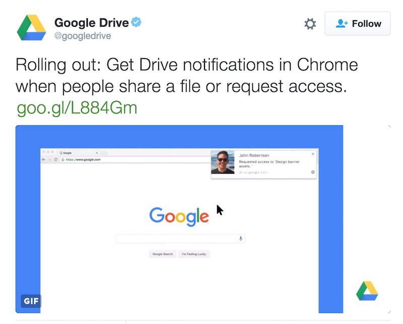 Google Drive Notification on Chrome
