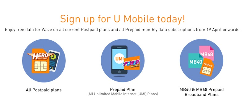 U Mobile Free Data for Waze Plans