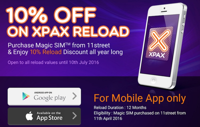 Xpax 11Street Promotion Discount on Reload