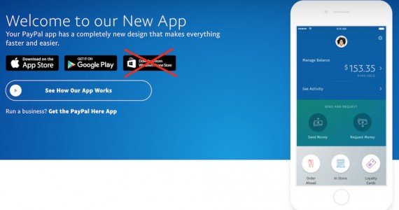 PayPal to Stop Windows Phone App