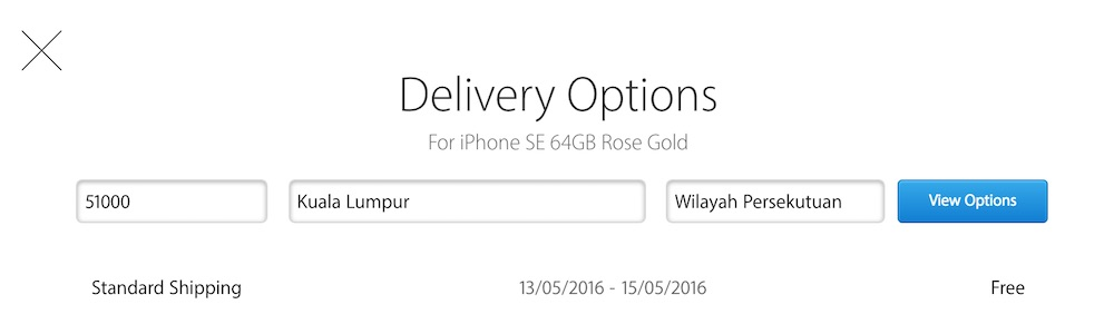 iPhone SE Apple Malaysia Online Store Expected Shipment Date