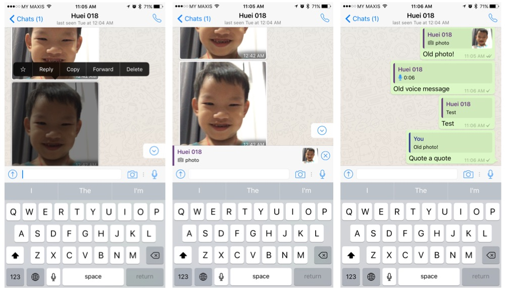 Quoting conversation and photos in whatsapp