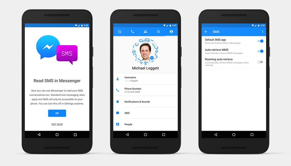 Turn on SMS on Facebook Messenger for Android