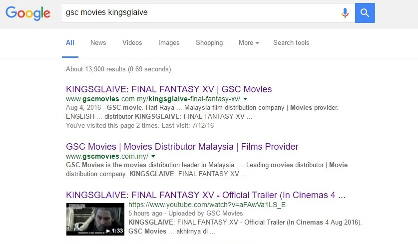 Kingsglaive: Final Fantasy XV references to GSC Movies