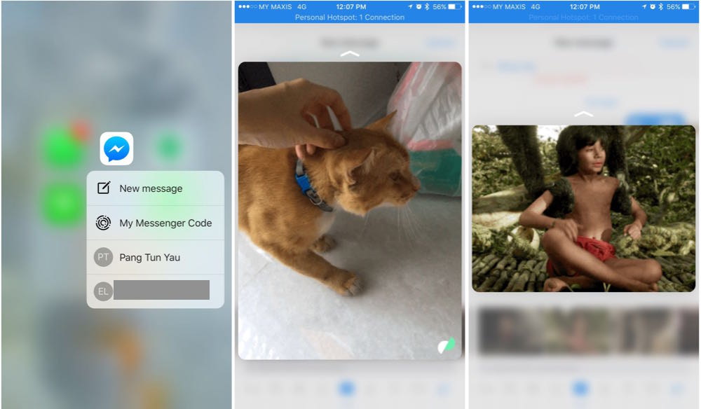 FB Messenger 3D Touch Shortcut Picture Preview and GIF Preview