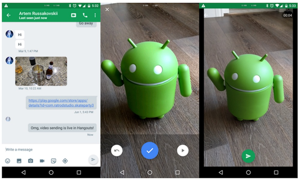 Google Hangouts for Android with Video Messaging