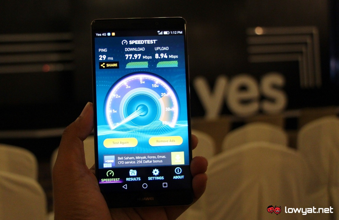 Yes 4G LTE Speed Test - Majestic Hotel KL
