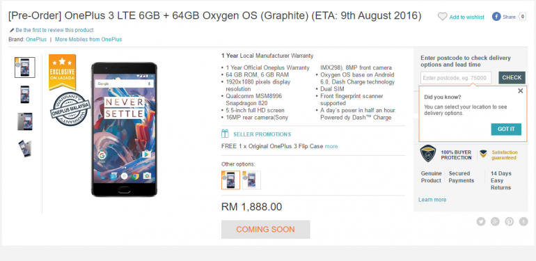 OnePlus 3 To Arrive In Malaysia 9 August, Lazada To Start